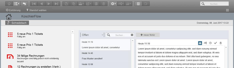 KoschierFlow Startbildschirm